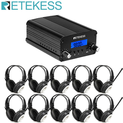 Retekess TR509 Wireless FM Broadcast Transmitter Radio Station Stereo + 10pcs TR101 Headphone For Church Meeting Translation