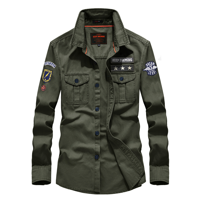 Shirt Military-Style Leisure Autumn Casual Cotton Fashion Spring Men's Brand 58887 Us-Army
