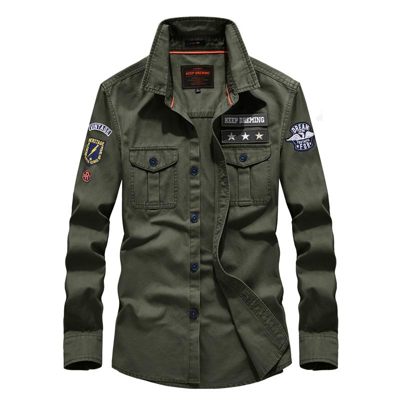 US Army Shirt 2019 Men's Casual Brand Fashion Military Style Spring & Autumn Cotton Leisure Shirt Man Long Shirts 58887