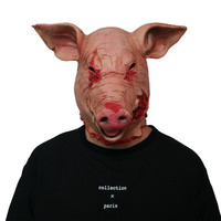 Horror Pig Mask Halloween Latex Pig Overhead Animal Mask Costume Scary Saw Pig Mask Full Head Horror Evil Animal Prop for Adults