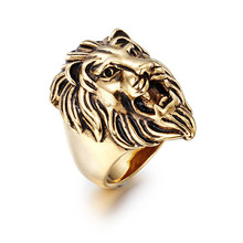 New Titanium Steel Multicolor Lion Head Ring Men's Hot Selling Classic Stainless Steel Ring Party Jewelry Holiday Gift Wholesale(China)