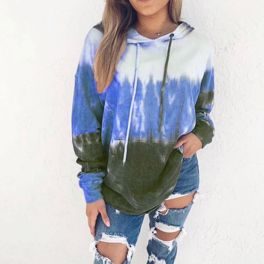 Women's Autumn Winter Printing Gradient Long Sleeve With Cap Jacket Blouse sudadera mujer bluza damska bluzy damskie moletom