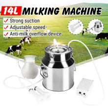 14L Cow Milking Machine Electric Milking Machine Stainless Steel Bucket For Farm Pasture Cows Goats Bucket Cow Goat Sheep Milker(China)