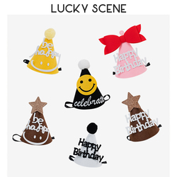 Felt Birthday Hat Cake Hat Smiley Face Bow Baby Funny Decoration Party Supplies S01127