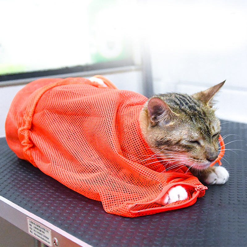 Pet Grooming Bathing Bag Mesh Washing Bag Adjustable For Cat Dog Anti Scratch Bite Restraint Nail Trimming Injecting Pouches