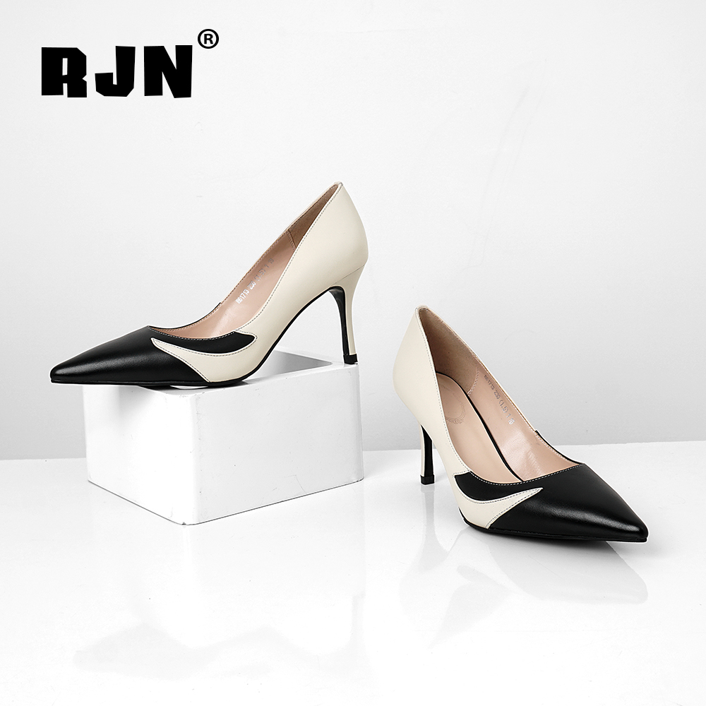 Buy RJN Classic Pumps Black White Match Strange Patchwork Design Slip-On Pointed Toe High Thin High Heel Fashion Women Pumps RO21