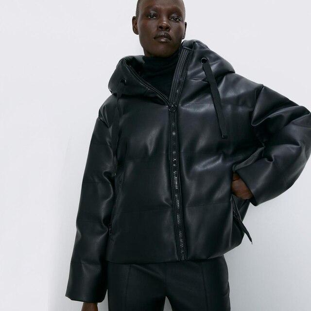 Fandy Lokar Zipper Short Parkas Women Fashion Pockets PU Leather Coats Women Elegant Winter Hooded Cotton Jackets Female Ladies 1