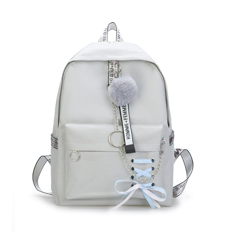 Ribbons Bowknot School Backpack Laptop Bag Canvas Shoulder Handbag for Teen Girl Travel Daypack Camping