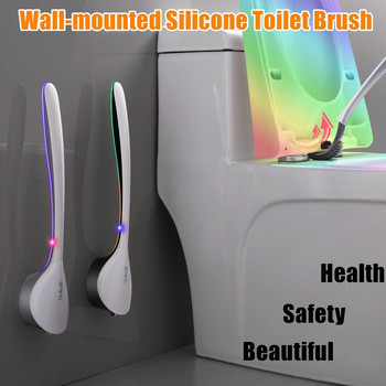 Silicone Toilet Brush and Holder Set No Dead Angle Brush Household Wall-mounted Toilet Brush Bathroom Cleaning Tool tpr silicone toilet brush and toilet quick drain cleaning brush tool household toilet bathroom accessories set