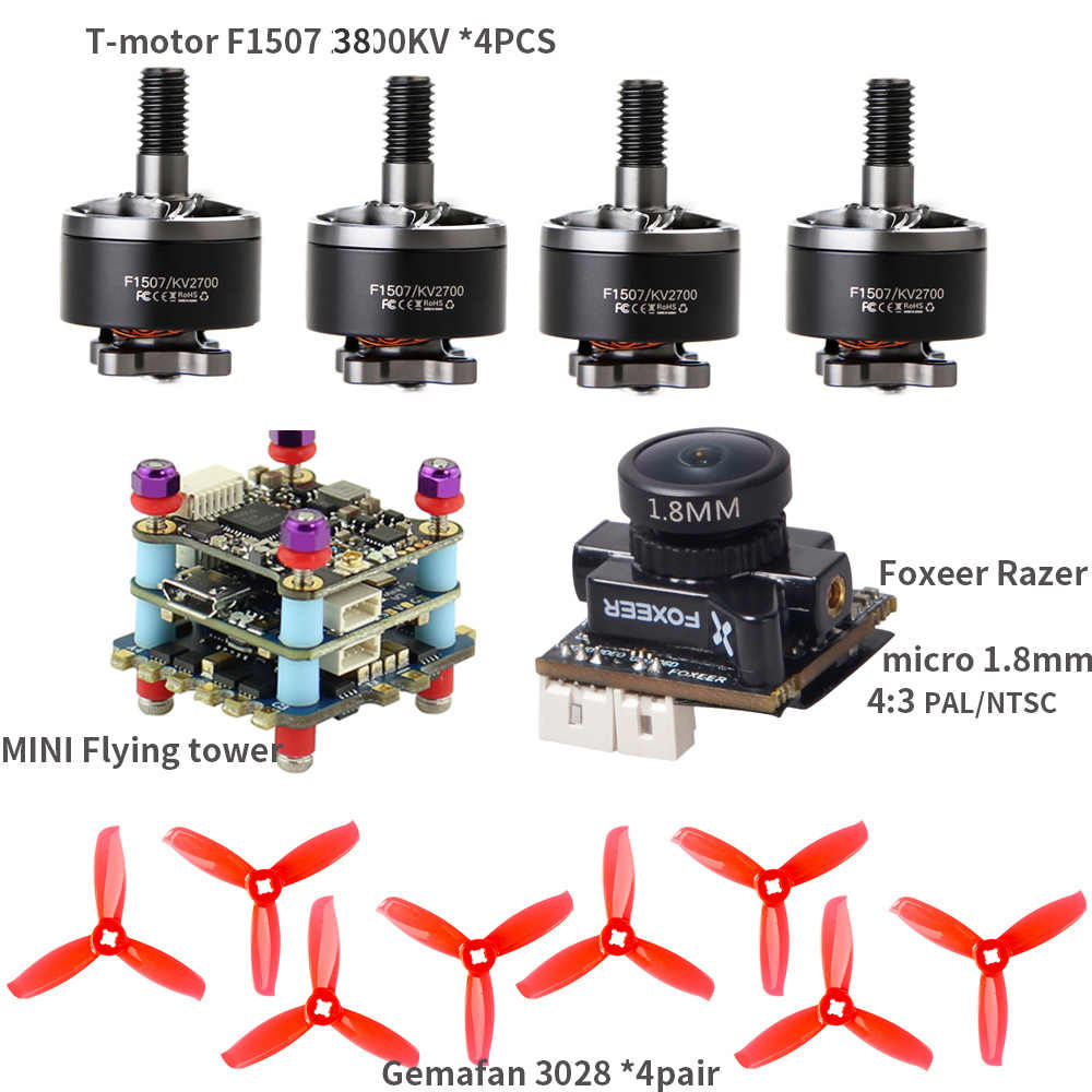 T-Motor F1507 1507 3800KV Motor Foxeer Razer Micro Gemfan 3028 Props MINI Flying Tower for RC Drone FPV Racing CineWhoop BetaFPV