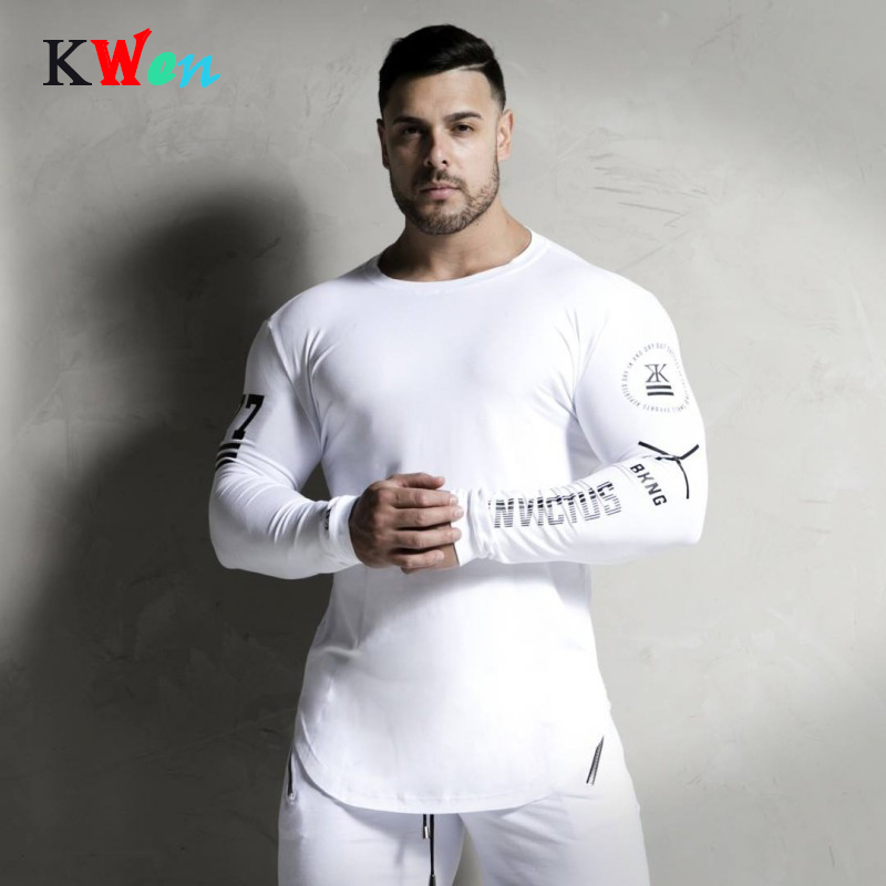 Summer High-elasticity Sporting T-shirt Men long Sleeve Fitness T shirt Men's solid gyms Bodybuilding personality tees clothing