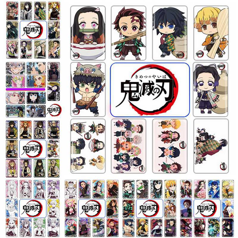 10Pcs/Pack Anime Demon Slayer: Kimetsu No Yaiba DIY Crystal Card Sticker Lomo Card Stationery Stickers