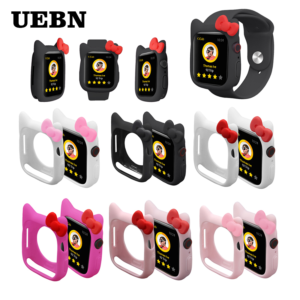 UEBN Hello Kitty Watch Case Silicone Soft Case For IWatch Series 4 Cover For Apple Watch 40mm 44mm Cute Kitty Ears Case
