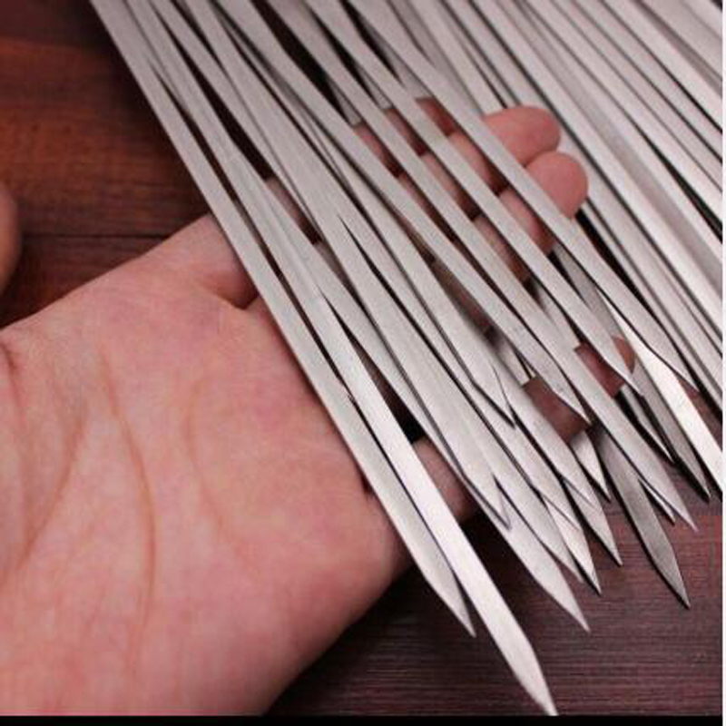 15/50/100 Pcs Stainless BBQ Sticks Steel For Skewer Reusable Barbecue Flat Needle Stick For Outdoor Camping Picnic Barbeque Tool