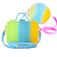 Luxury Bags for Woman 2019 Rainbow Candy Weave Silicone Fashion Purse Cross Body Shoulder Bags