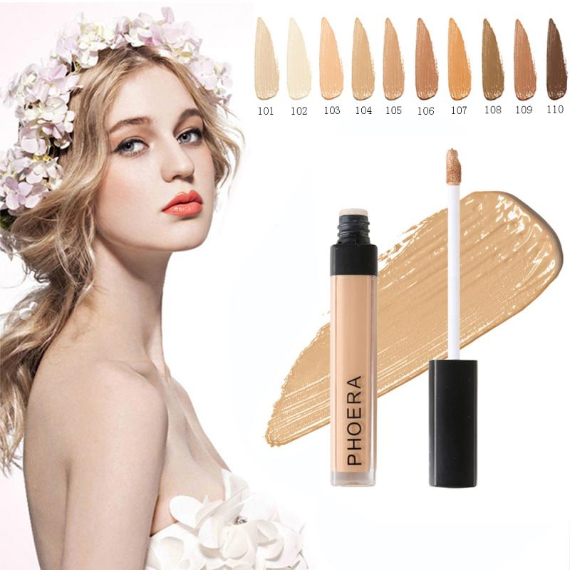 PHOERA Liquid Concealer Foundation Cream 10 Colors Eye Concealer Highlighter Cover Up Acne Scars Fine Lines Lip Primer image