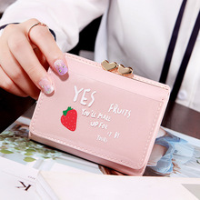 New Fashion Women Wallets with Fruit Pattern Credit Cards Wallet Leather PU Female Cute Short for Girls