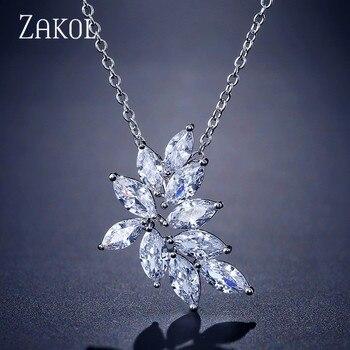 Zakol requintado de alta qualidade zircônia flor doce colar pingente para jóias de noiva feminino jantar festa presente aniversário fsnp2132