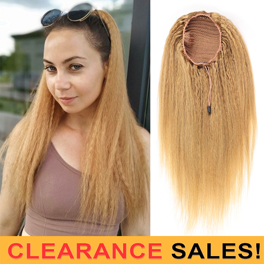 Afro Kinky Straight Hair Drawstring Ponytail Human Hair Extensions Light Brown #27 T1B-4-27 #1B Tail Ponytail 100G Can Be Dyed