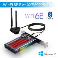 Fenvi wifi 6e intel ax210 pcie adaptador sem fio bluetooth 5.2 ax210ngw wi-fi placa de rede 2.4g/5g/6ghz rgb 802.11ax windows 10