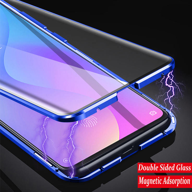 360 Full Protection Magnetic Case For Xiaomi Redmi Note 8 Pro 7 Metal Bumper Double Glass Cover For Mi Note 10 Mi 9 9T 8T funda(China)