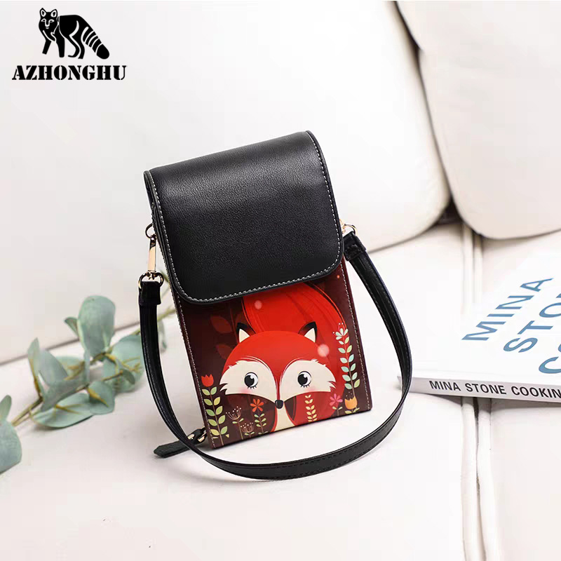 Leather Shoulder Bag Ladies New Girl Cartoon Print Wallet Large Capacity Messenger Casual All-Match Student Cute Mini Coin Purse