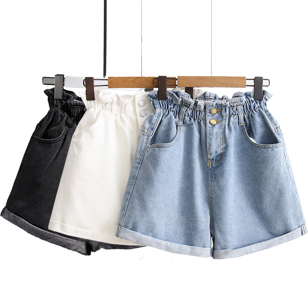 Women's High Waist Jeans Women's Summer New Style Of  Korean-Style Elastic-Waist Wide-AWide Leg Shorts Elastic
