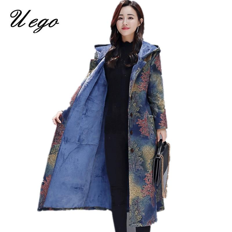 Uego Thicken Fleece Warn Winter Coats Hooded Single Breasted Outerwear Woolen Coats 2019 New Fashion Women Casual Winter Coat