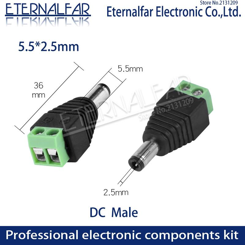 5.5mm x 2.1mm 2.5mm Female Male DC Connector Power Plug Adapter 5050 3528 5060 Single Color LED Strip and CCTV  Tuning Fork