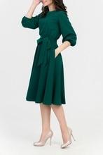 Fall Women Casual O-Neck Elegant Dresses Autumn Vintage Soild Pocket A-Line Dress Lantern Sleeve Sashes Party