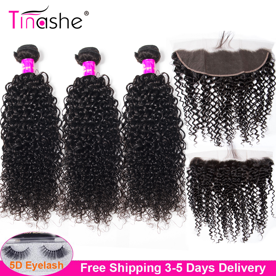 Tinashe Hair Curly Bundles With Frontal Closure Remy Brazilian Human Hair Weave 3 Bundles With Closure Lace Frontal With Bundles