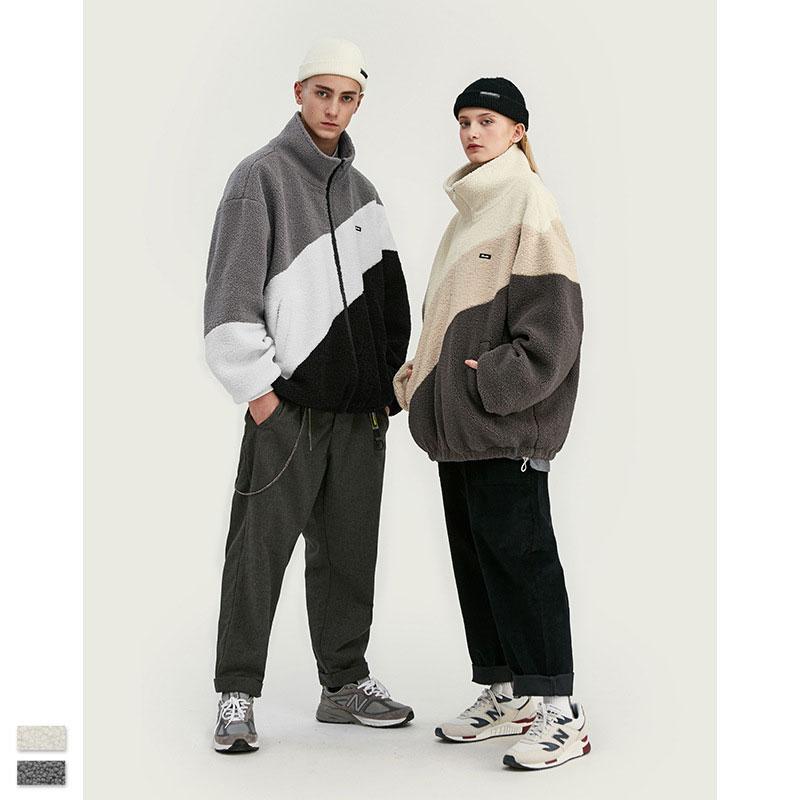 Winter Jacket Men Vintage Lamb Wool Plus Fleece Hit Color Couplewear Casual Stand Collar Cardigan Coat Zipper Korean Fashion New