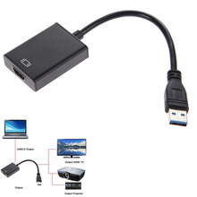 USB 3.0 Male untuk HD Perempuan Adaptor 1080P Video Kabel PC Laptop Notebook Proyektor HDTV Converter(China)
