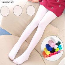 Ywhuansen verão primavera doce cor crianças meia-calça ballet dança collants para meninas meia crianças veludo sólido branco meia-calça