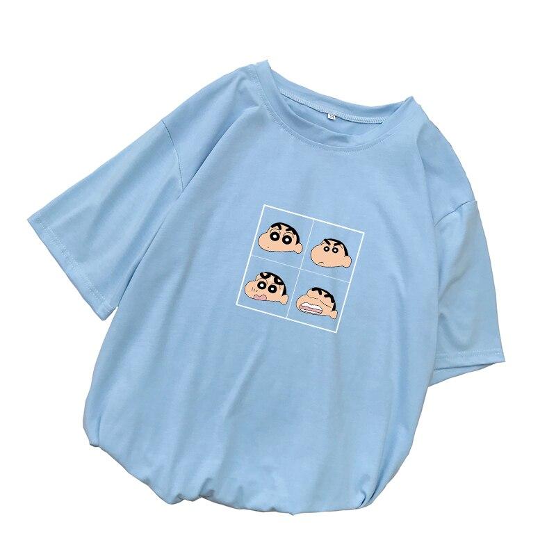 Women Crayon Shin Chan Anime T Shirt Summer Casual Harajuku Kawaii Cartoon Print Tee Shirt Femme Short Sleeve Loose Tops Clothes