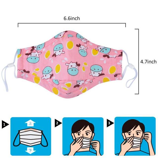3pcs Mouth Mask Cartoon Printing Breathable Half Face Anti-Dust Mask Cotton Mask For Kids Clothing Accessories 2