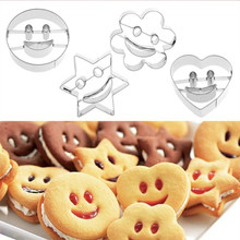 4Pcs Stainless Steel Cutter Mold Smiling Face Cookies Cutter Pastry Biscuit Cake Decorating Mold For Moulds Fruit Cookie Tools(China)