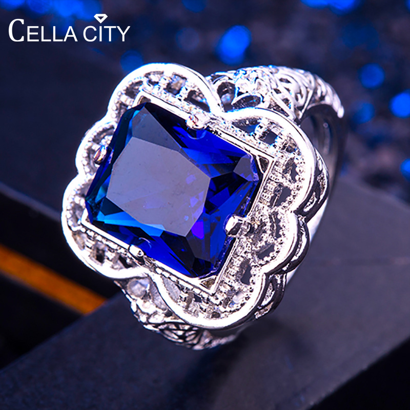 Cellacity Vintage Silver 925 Ring For Women With Blue Rectangle Sapphire Gemstone Silver Ring For Women Party Gift Size 6-10