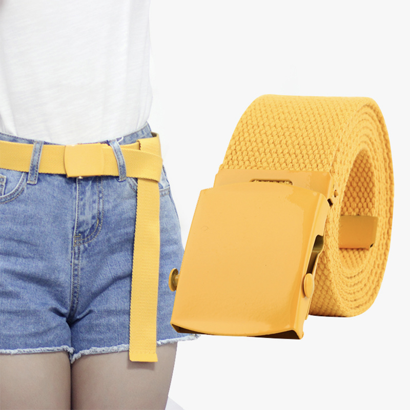 Yellow Canvas Belt Fashion Automatic Kids Belts For Women Girls White Easy Black Belt 2019 Cute Harajuku Belts For Jeans Long