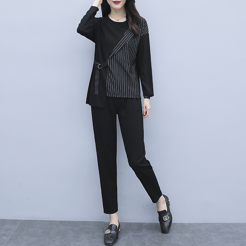 L-5xl 2019 Autum Black Two Piece Sets Outfits Women Plus Size Striped Splicing Tops And Pants Suits Elegant Office Casual Sets 26