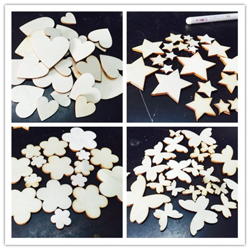 Wooden heart love plum blossom patch DIY hand-painted accessories decoration party wood christmas Clothing & Accessories