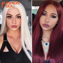 FASHION IDOL 26 Inch Long Straight Wig Middle Part Lace Fron