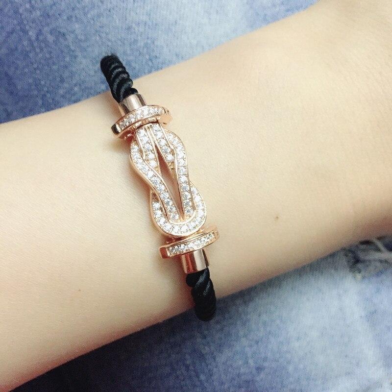 Marque de luxe chanceux 8 Zircon Bracelet Pulseira Masculina 925 bijoux en argent Sterling corde rouge or Rose bracelets pour femme