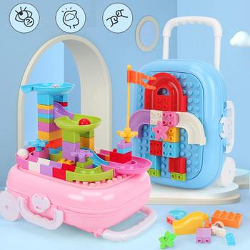 60PCS Roller Coaster Building Block Toy Flash Balls Building Block Trolley Case Baby Educational Toy Or Kids New Year Gifts