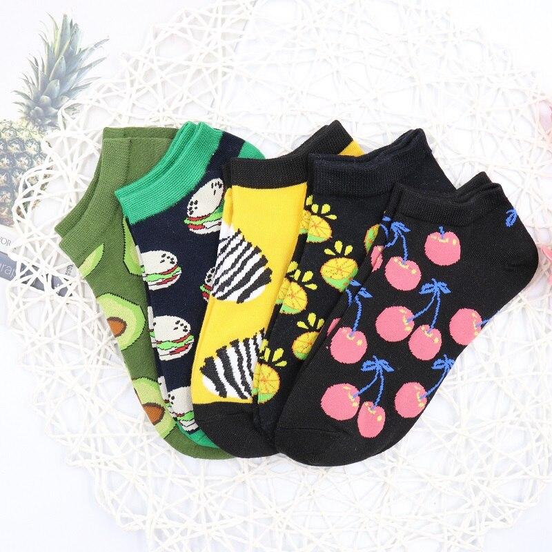 5 Pairs Cute boat   Socks   colorful Cartoon Fruit   Socks   Women Cotton   Socks   Short Ankle harajuku   socks   cute Casual colorful   socks
