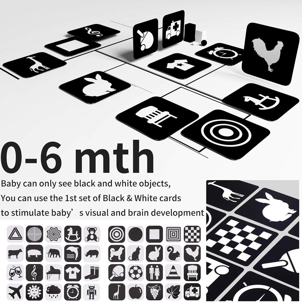 2PCS Baby High Contrast Book With Flash Card Educational Toy Shower Gift For Toddlers Boy Girls