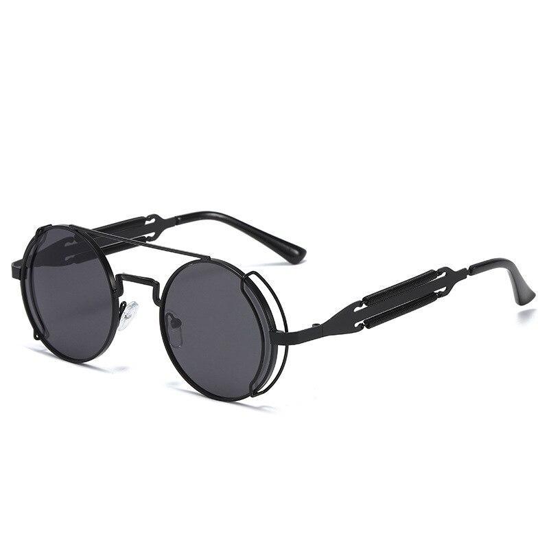 2020 Fashion Round Steampunk Sunglasses Men Women Vintage Gothic Metal Frame Double Bridge Sun Glasses For Male Oculos De Sol