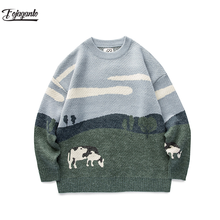 FOJAGANTO Men Cow Prairie Knitted Winter Sweaters Pullover O-Neck Korean Harajuku Fashions Sweater Male Casual Brand Clothes