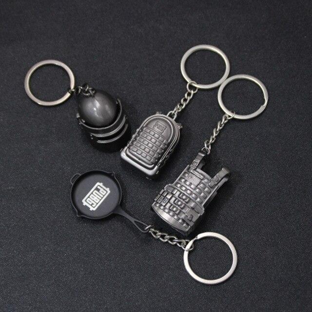 PUBG Keychain Armor Bag Car Key Chain Helmet Pan Equipment Toys Keyring Fashion Jewelry FPS CS Game Fans Gift for Men Friends