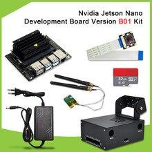 Nova versão nvidia jetson nano desenvolvedor kit b01 versão ai placa de desenvolvimento + câmera ai fonte de alimentação dc da ue cartão tf caso